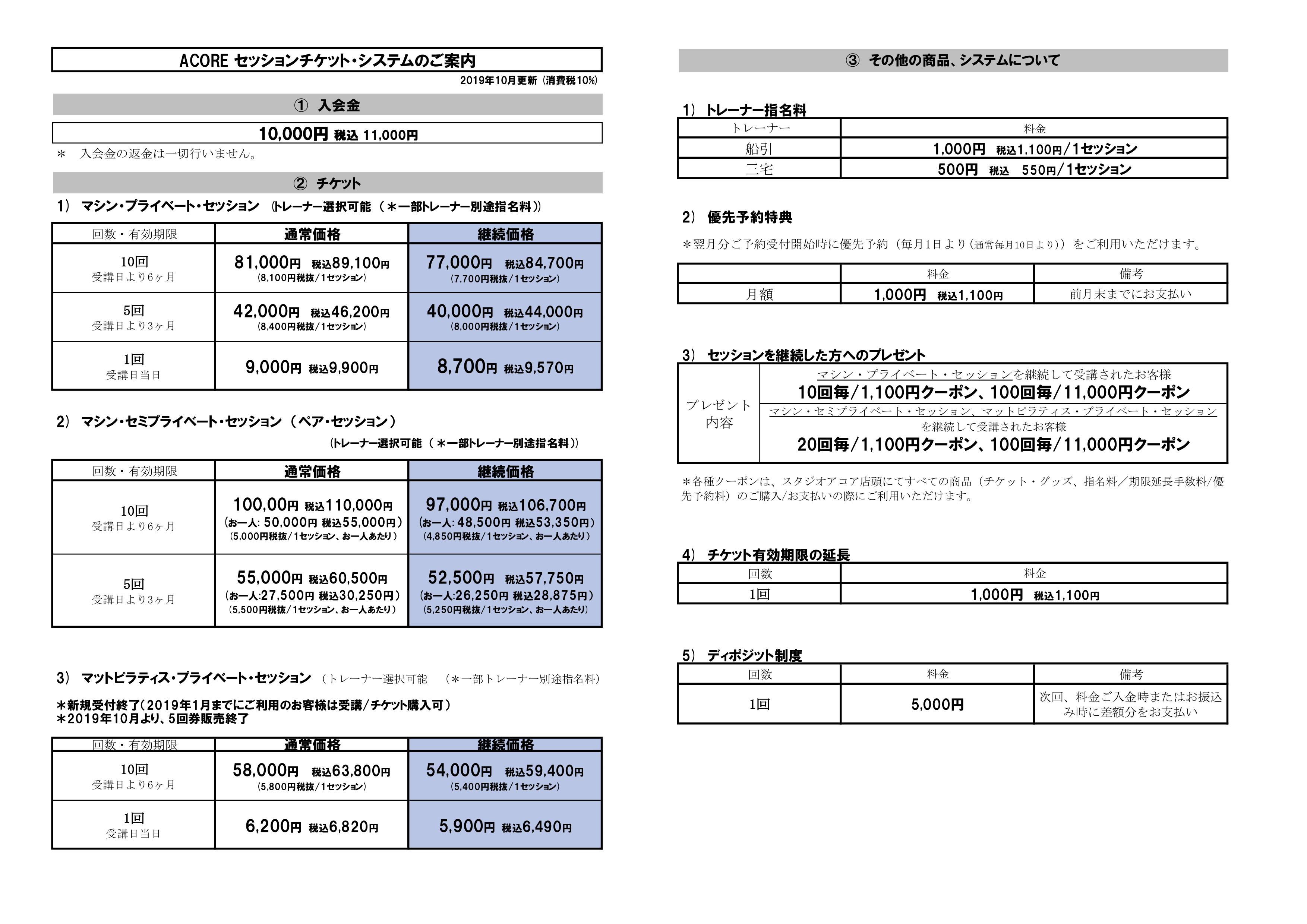 2019年10月消費税増税時価格改定チケット料金表(9月15日変更)